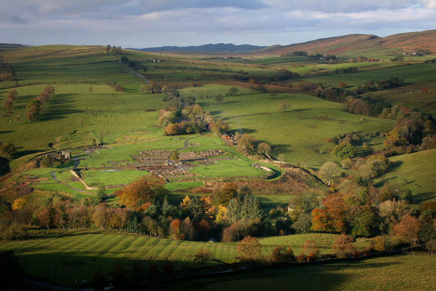 Vindolanda site showing the fort and vicus. The Stanegate road is the linear feature just to the north of the site.